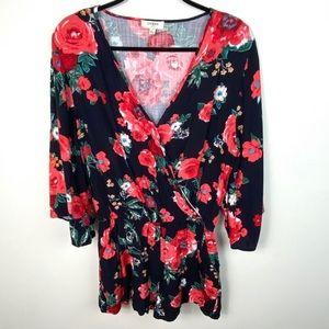 Umgee Boho Red Black Floral Bell Sleeve Romper L